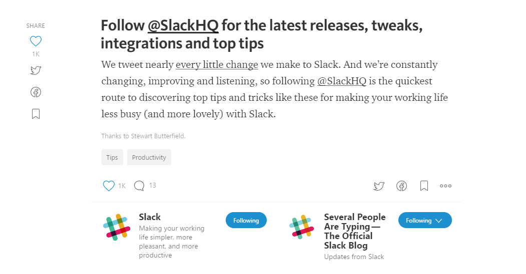 Screenshot showing the last bit of an article by Slack