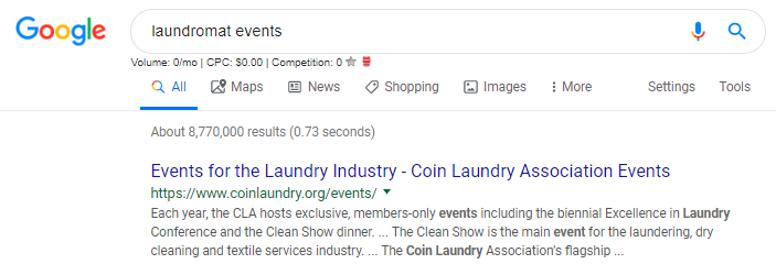 "Screenshot of Google search results for ""laundromat events"""