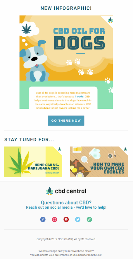 Screenshot of multimedia content email by CBD Central