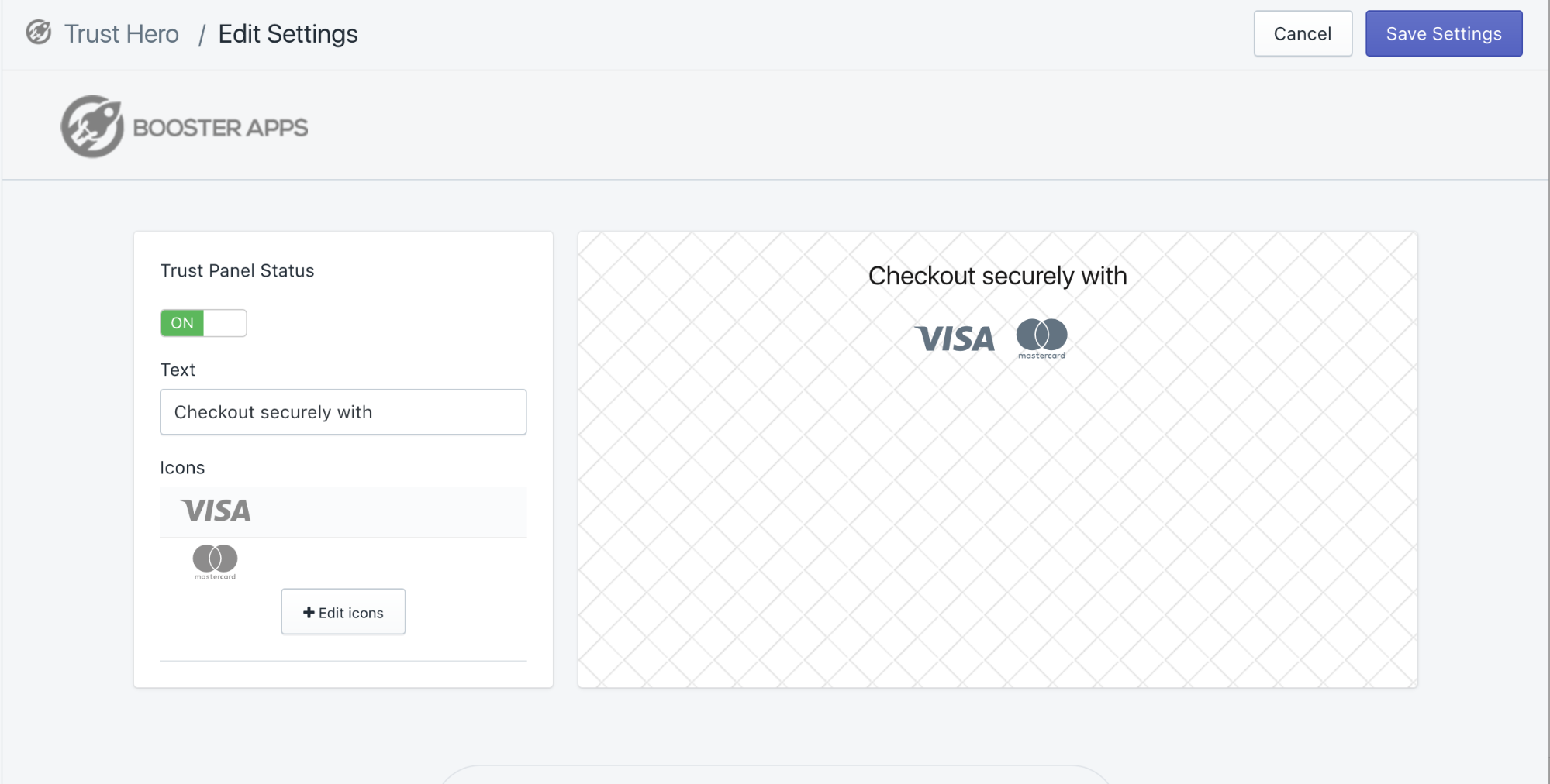 Screenshot showing how you can edit your accepted payment methods section with Trust Hero